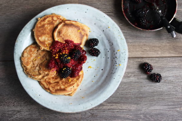 Orange, Honey and Ginger Pancakes with Blackberry Compote