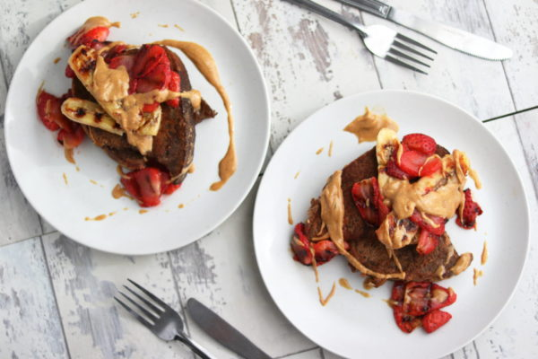 Cinnamon Honey French Toast with Grilled Banana and Strawberries