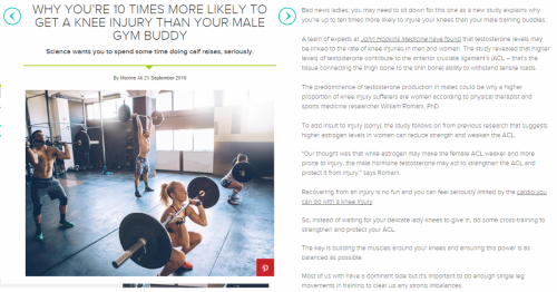 Women's Health UK - Why you're ten times more likely to get a knee injury